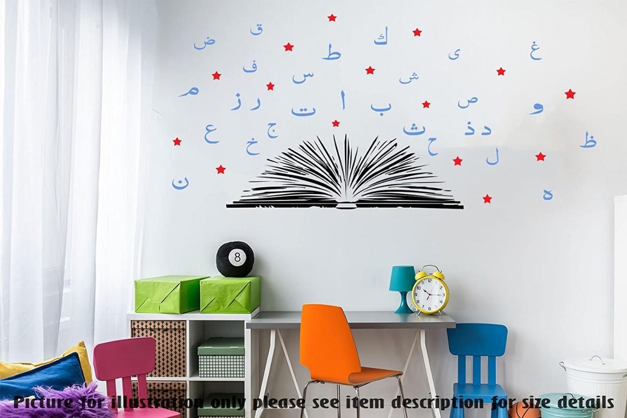 Arabic Alphabet wall sticker children Islamic Nursery room decor Quran Learning Removable vinyl