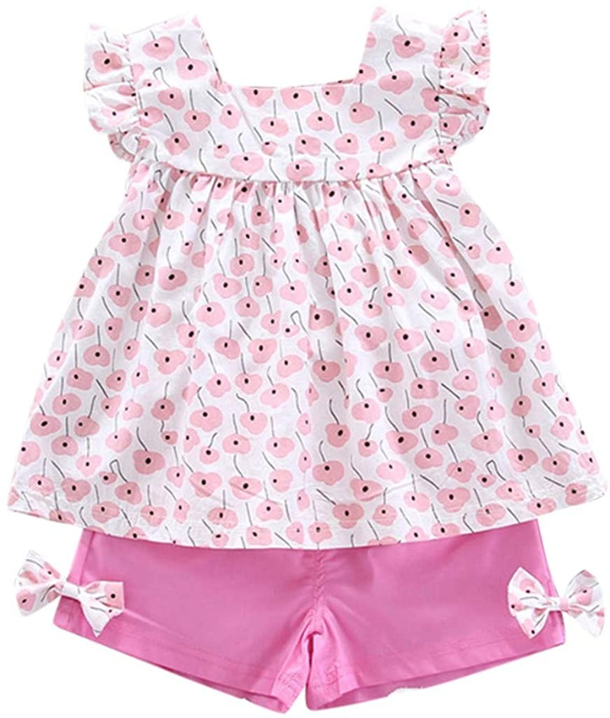 Baby Girls Outfits, 0-3 Years Baby Girls Clothes Set Floral Print Ruffles Tops Bow Solid Colors