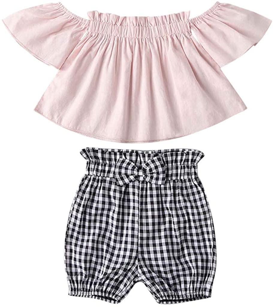 Baby Girls Summer Clothes Set,Infant Baby Girls Off Shoulder Floral Print Tops+Bowknot Denim Shorts
