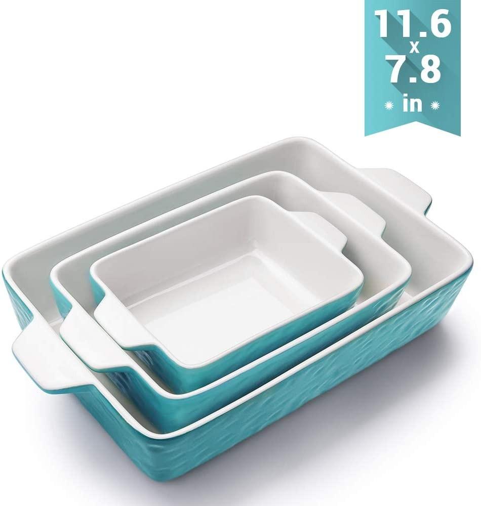 Bakeware Set, Krokori Rectangular Baking Pan Ceramic Glaze Baking Dish for Cooking, Kitchen, Cake