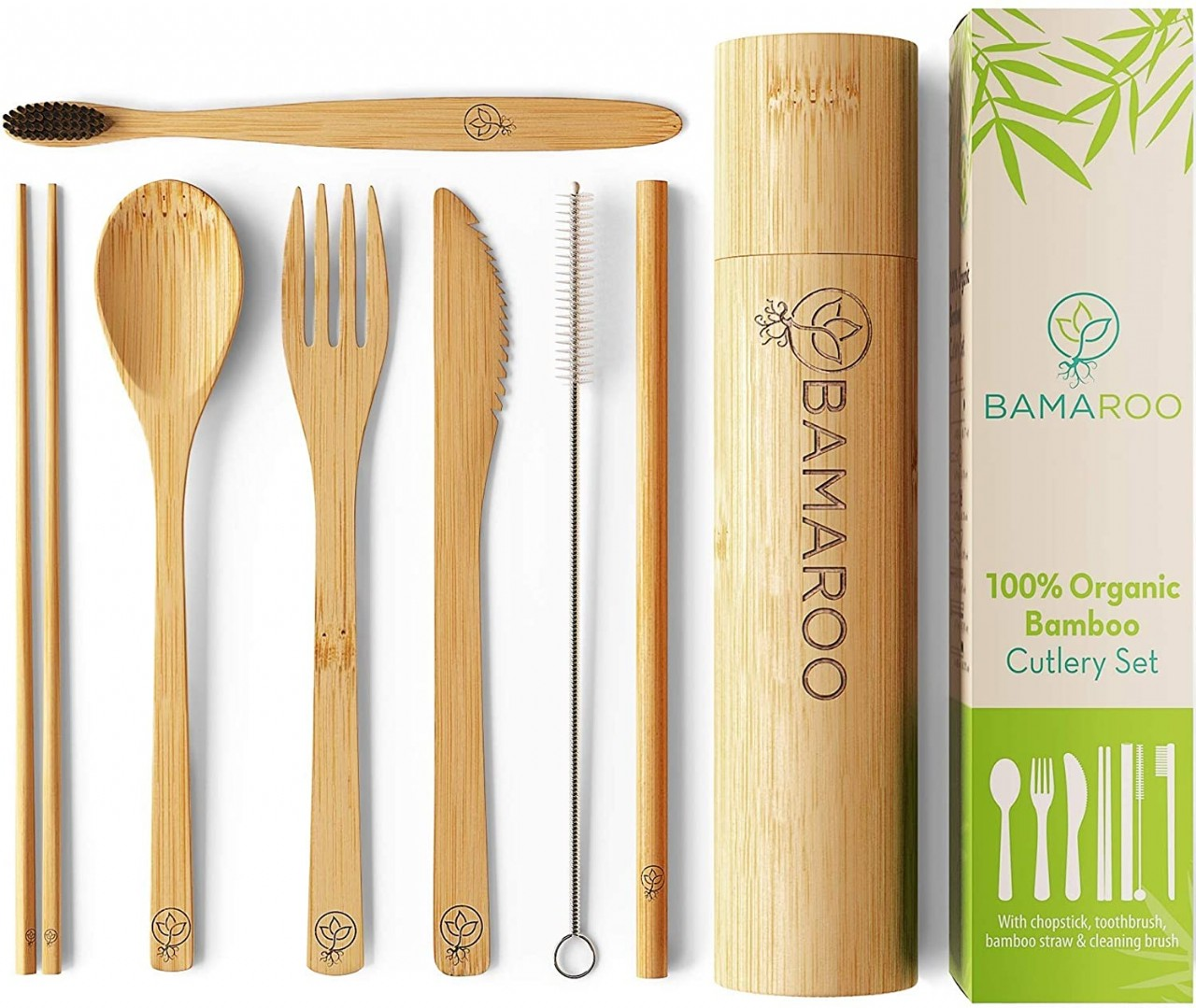 BAMAROO Bamboo Utensils Cutlery Set - Reusable Cutlery Travel Set With Case - Eco-Friendly Wooden