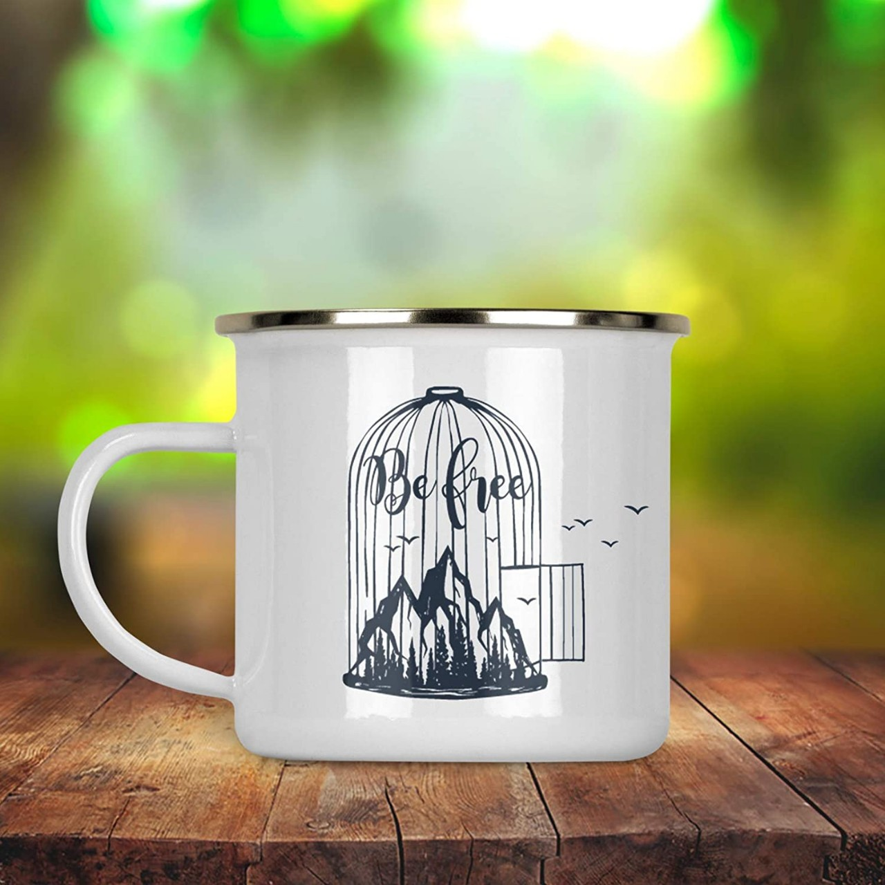 Be Free Bird Cage Mountain Coffee Tea Enamel Camp Mug 12 oz