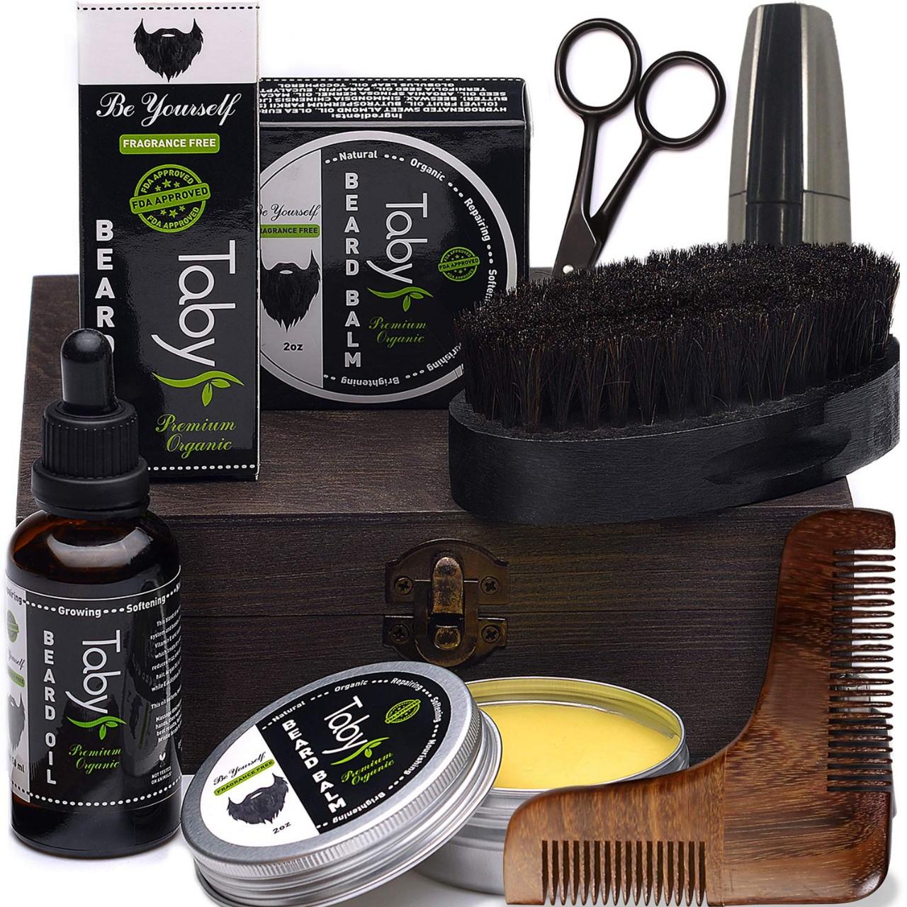 Beard Care Kit, Grooming & Trimming Gift Set for Men Includes - Beard Oil, Beard Balm, Horsehair