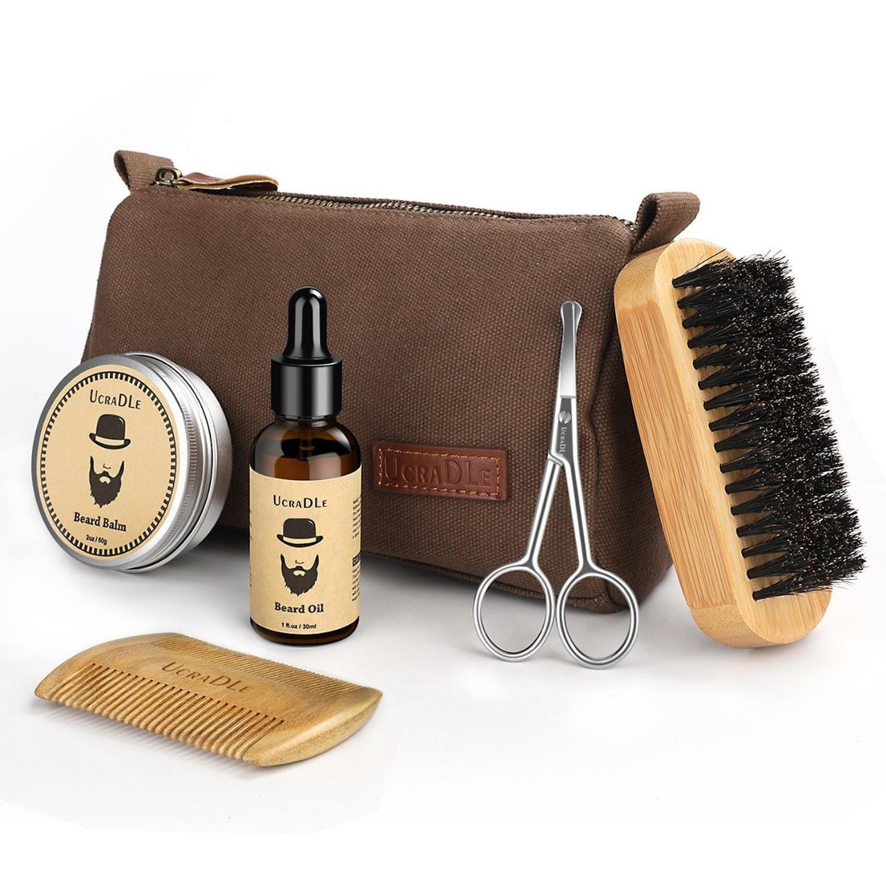 Beard Grooming & Trimming Kit - 6 Mustache Care Set for Men Care   Beard Oil   Mustache Beard Balm