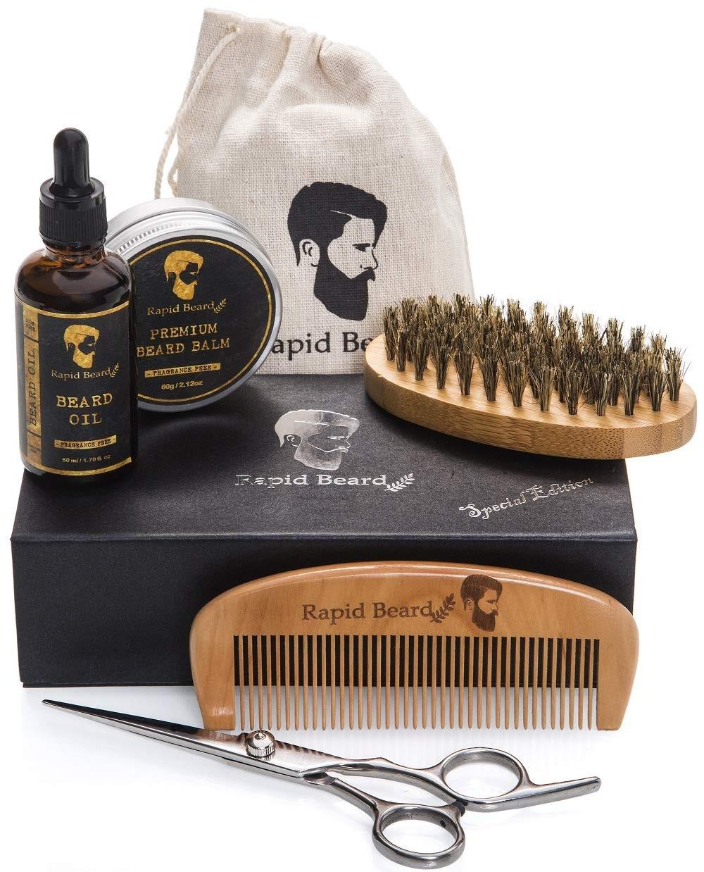 Beard Grooming & Trimming Kit for Men Care - Beard Brush, Beard Comb, Unscented Beard Oil Leave-in