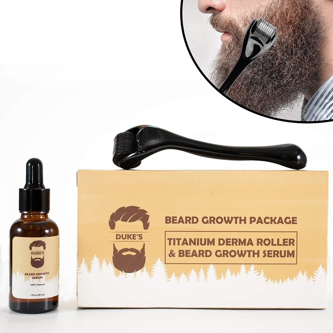 Beard Growth Kit - Derma Roller for Beard Growth and Beard Growth Serum - Stimulate Beard and Hair