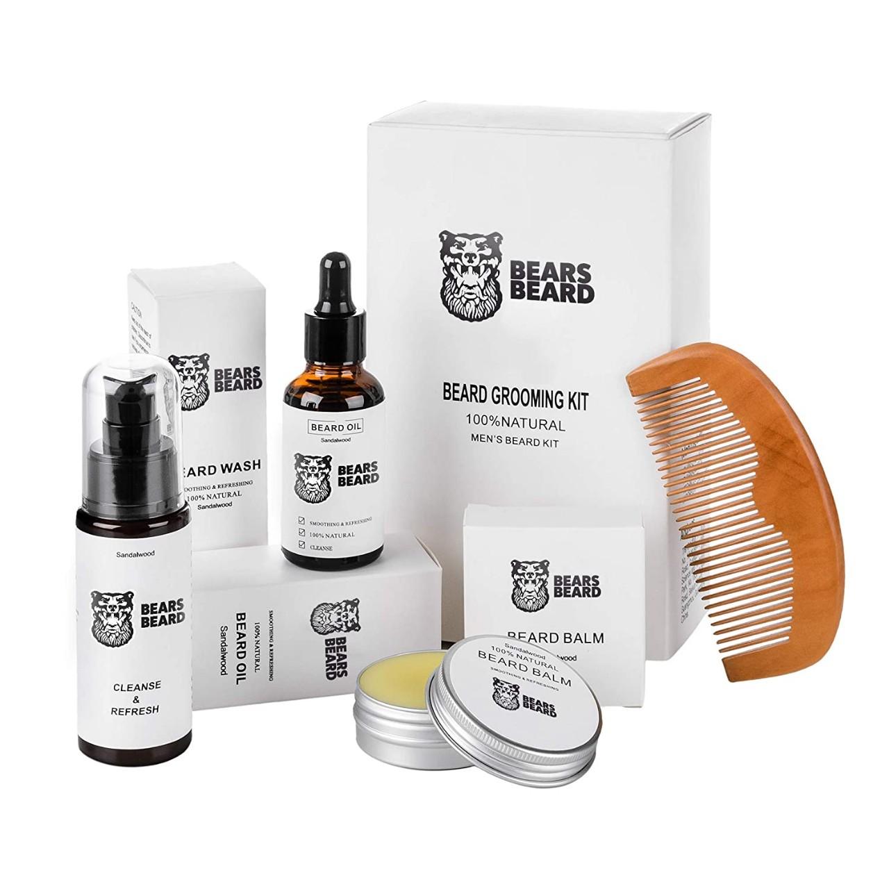 Beard & Mustache Grooming Kit for men - Ultimate Care Kit for Grow Beard - 100% Natural Comb, Oil