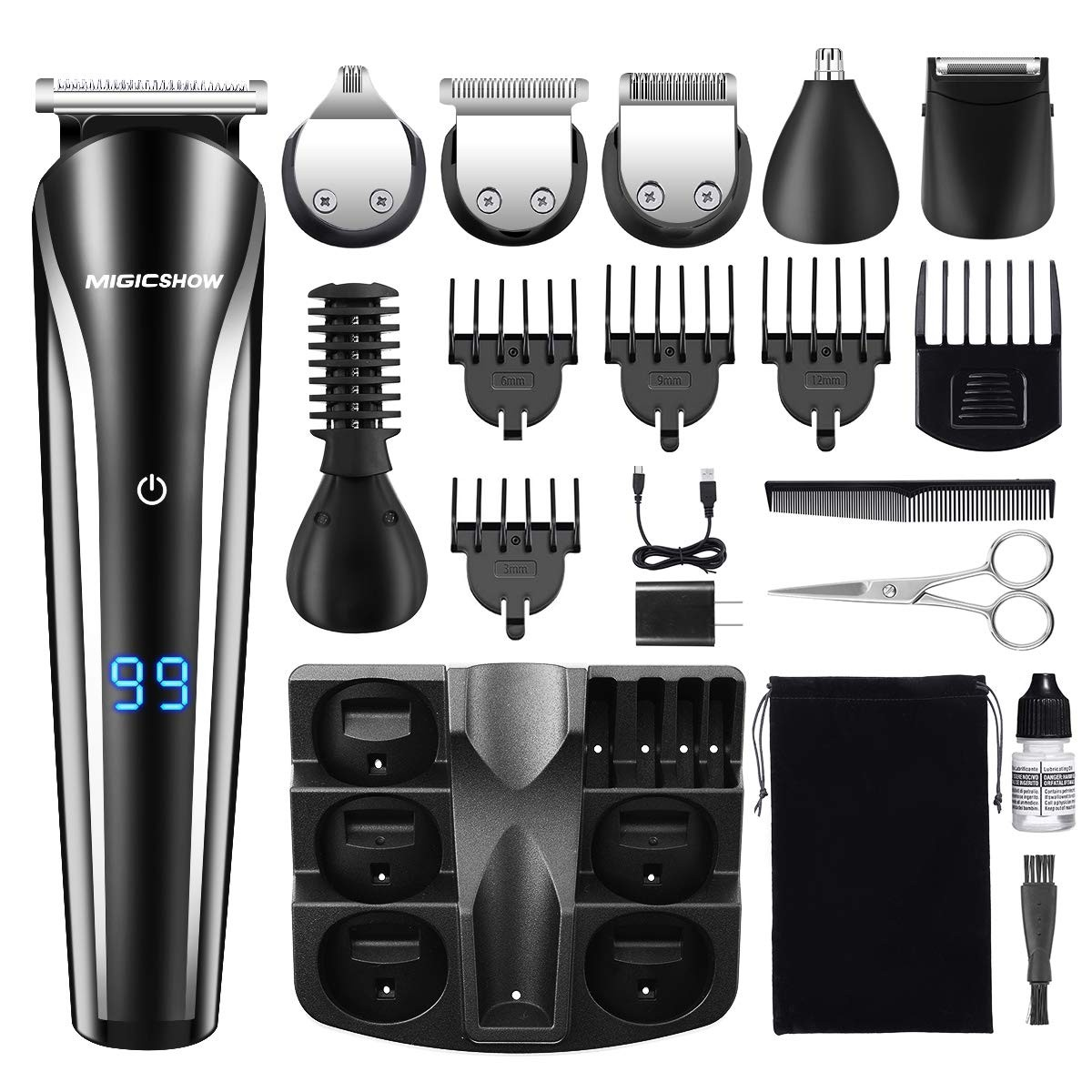 Beard Trimmer For Men, MIGICSHOW Cordless Hair Trimmer 11 in 1 Mustache Trimmer Hair Clippers