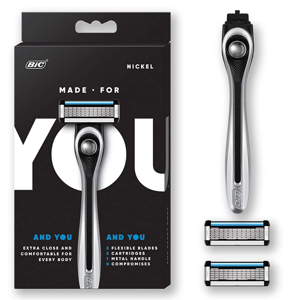 BIC Shaving Razor Blades for Every Body - Men & Women, with 2 Cartridge Refills - 5-Blade Razors