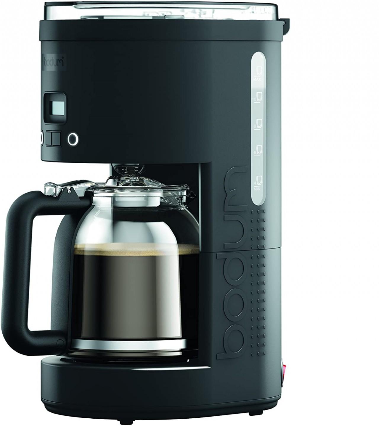 Bodum 11754-01CA Bistro Maker Programmable Coffee Machine with Borosilicate Glass Carafe, 12 Cup