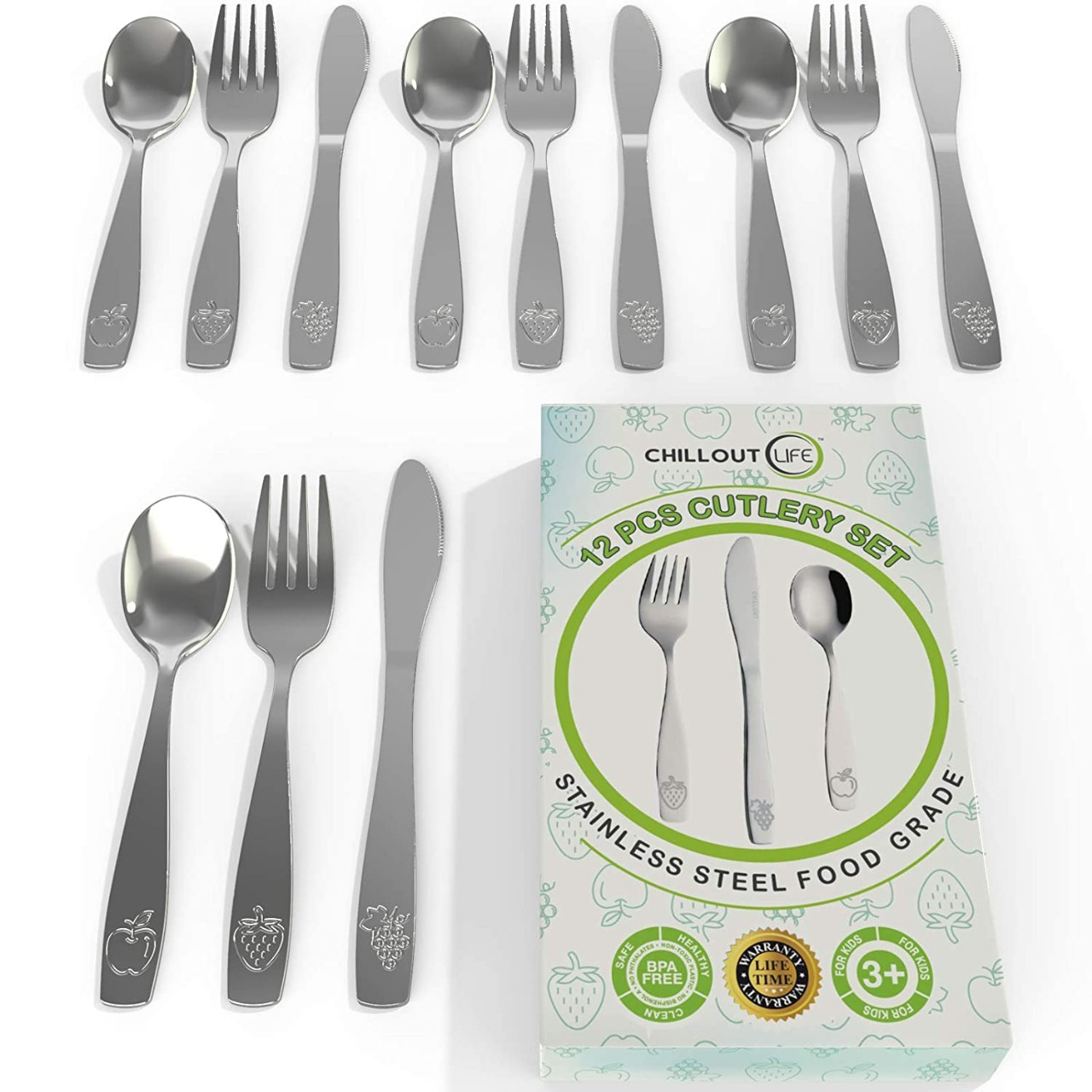 CHILLOUT LIFE 12 Piece Stainless Steel Kids Silverware Set - Child and Toddler Safe Flatware - Kids