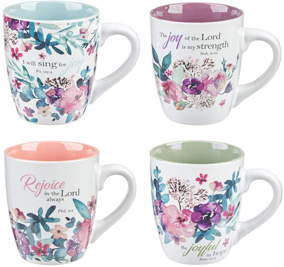 Christian Art Gifts Ceramic Coffee/Tea Mug Set for Women | Rejoice Watercolor Flowers Design Bible
