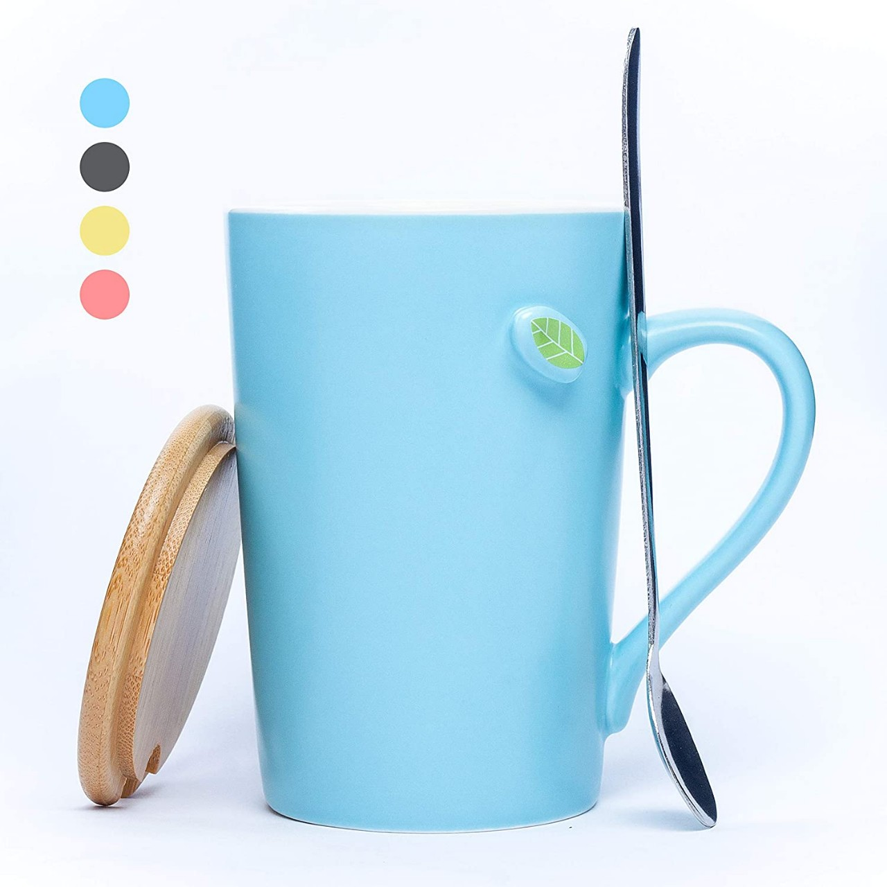 Coffee Mugs Tea Cups with Lid and Spoon 13.5 OZ, Coffee Mugs Ideal for Coffee, Tea, Cold Drinks