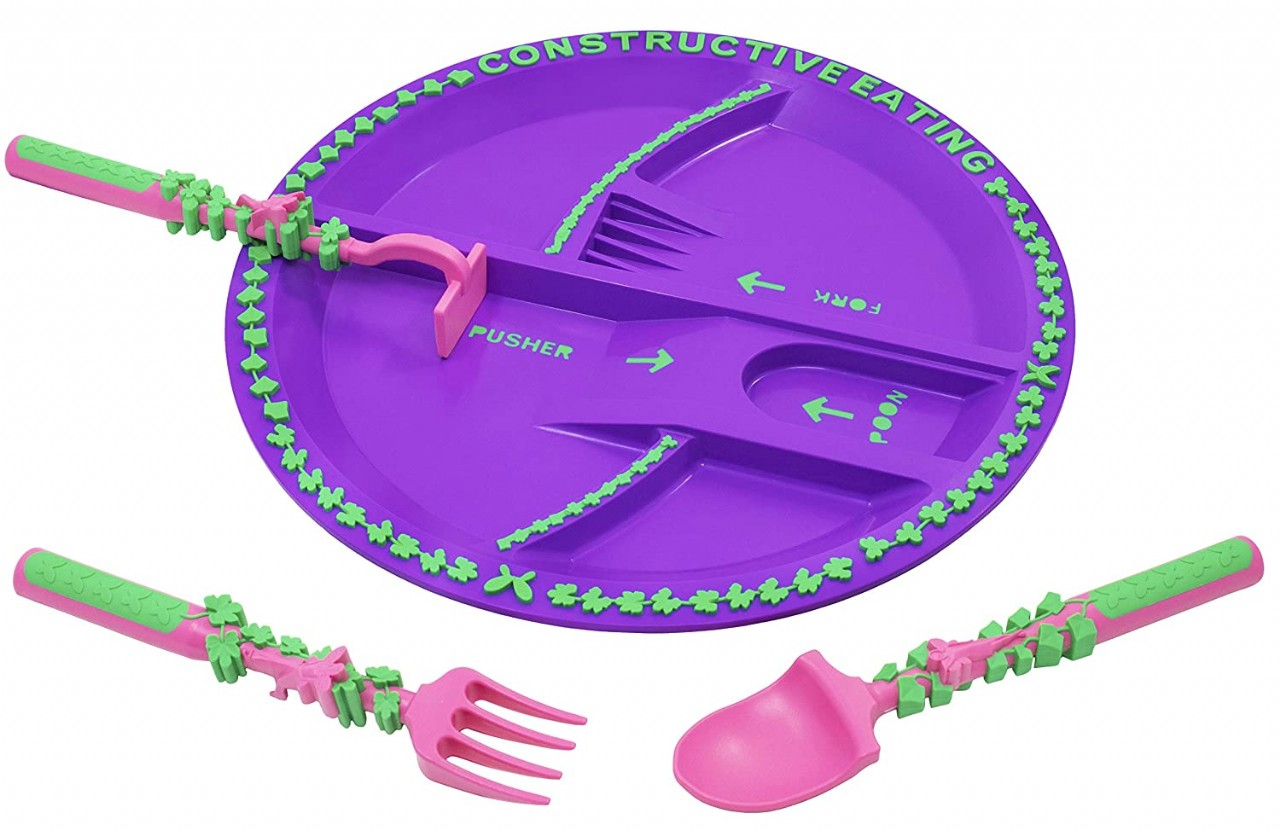 Constructive Eating Garden Fairy Combo with Utensil Set and Plate for Toddlers, Infants, Babies