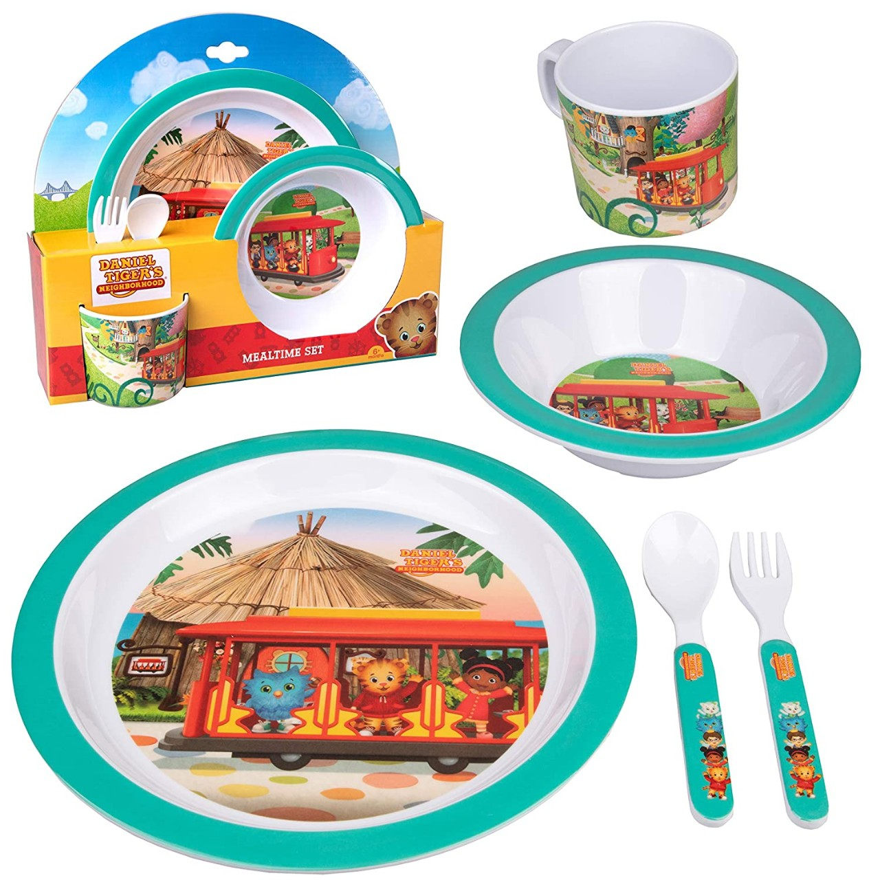 Daniel Tiger 5 Pc Mealtime Feeding Set for Kids and Toddlers - Includes Plate, Bowl, Cup, Fork