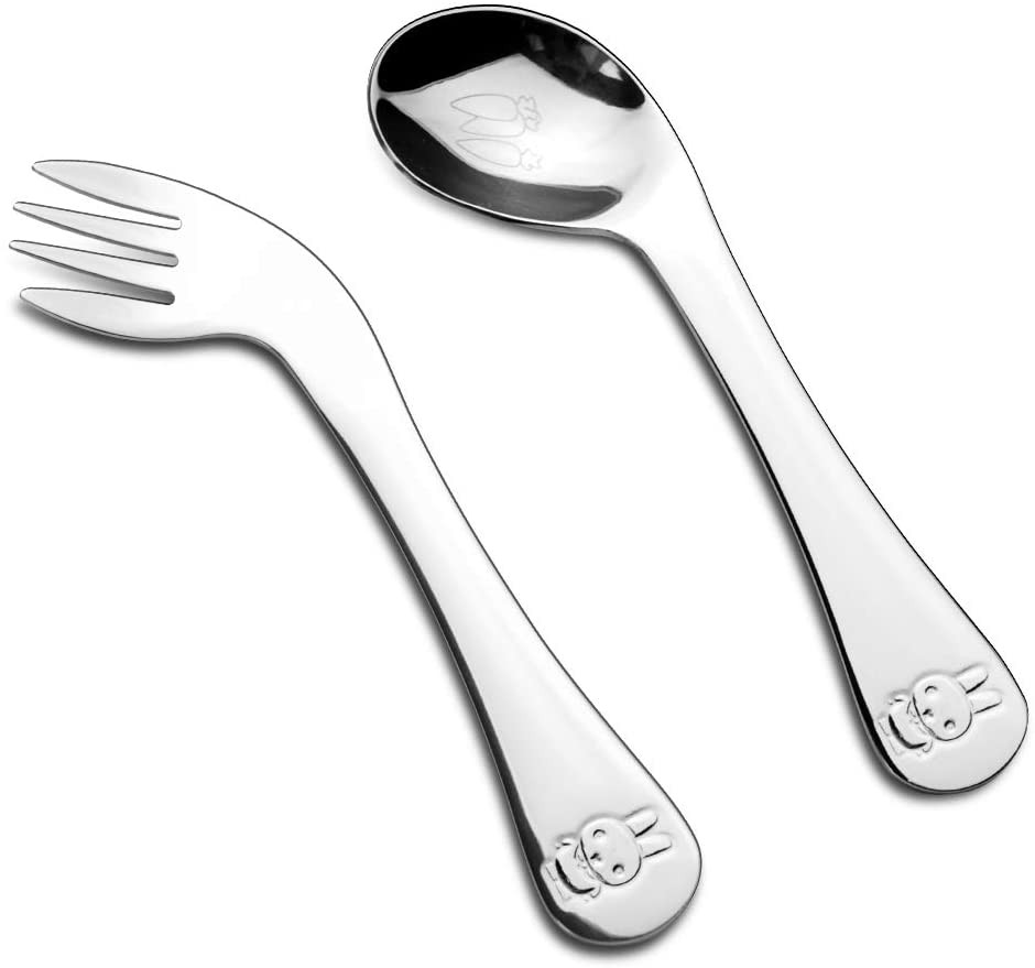 DMAR Toddler Self Feeding Utensil Set, Stainless Steel Kids Spoons and Forks Cutlery Set, Kids Safe
