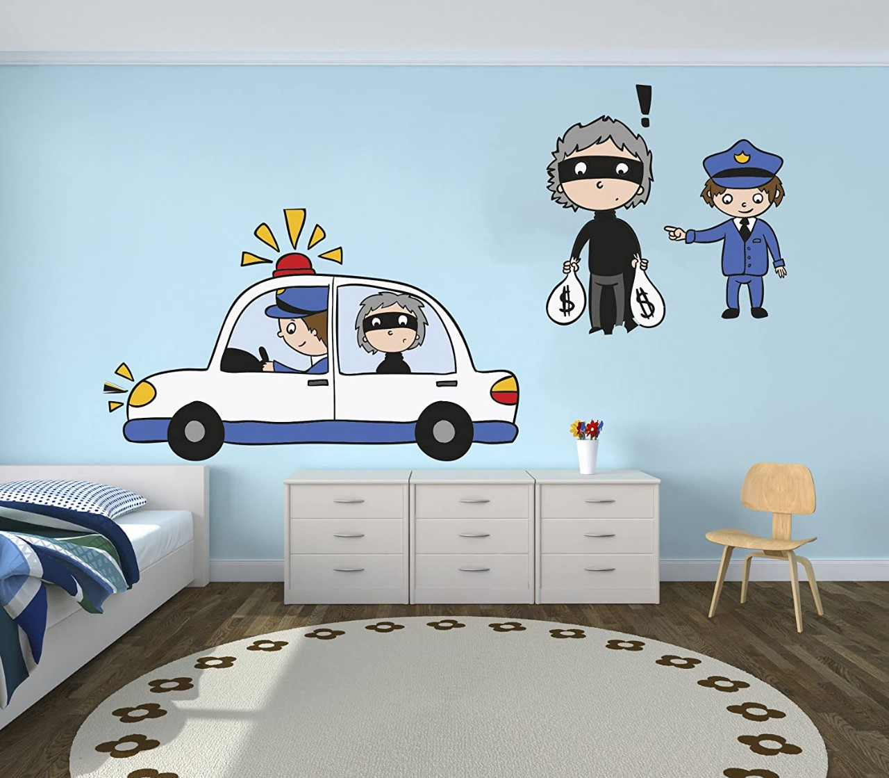 e-Graphic Design Inc Police and Thief Vinyl Wall Paper Decal Art Sticker - Kids Room Decor for Home