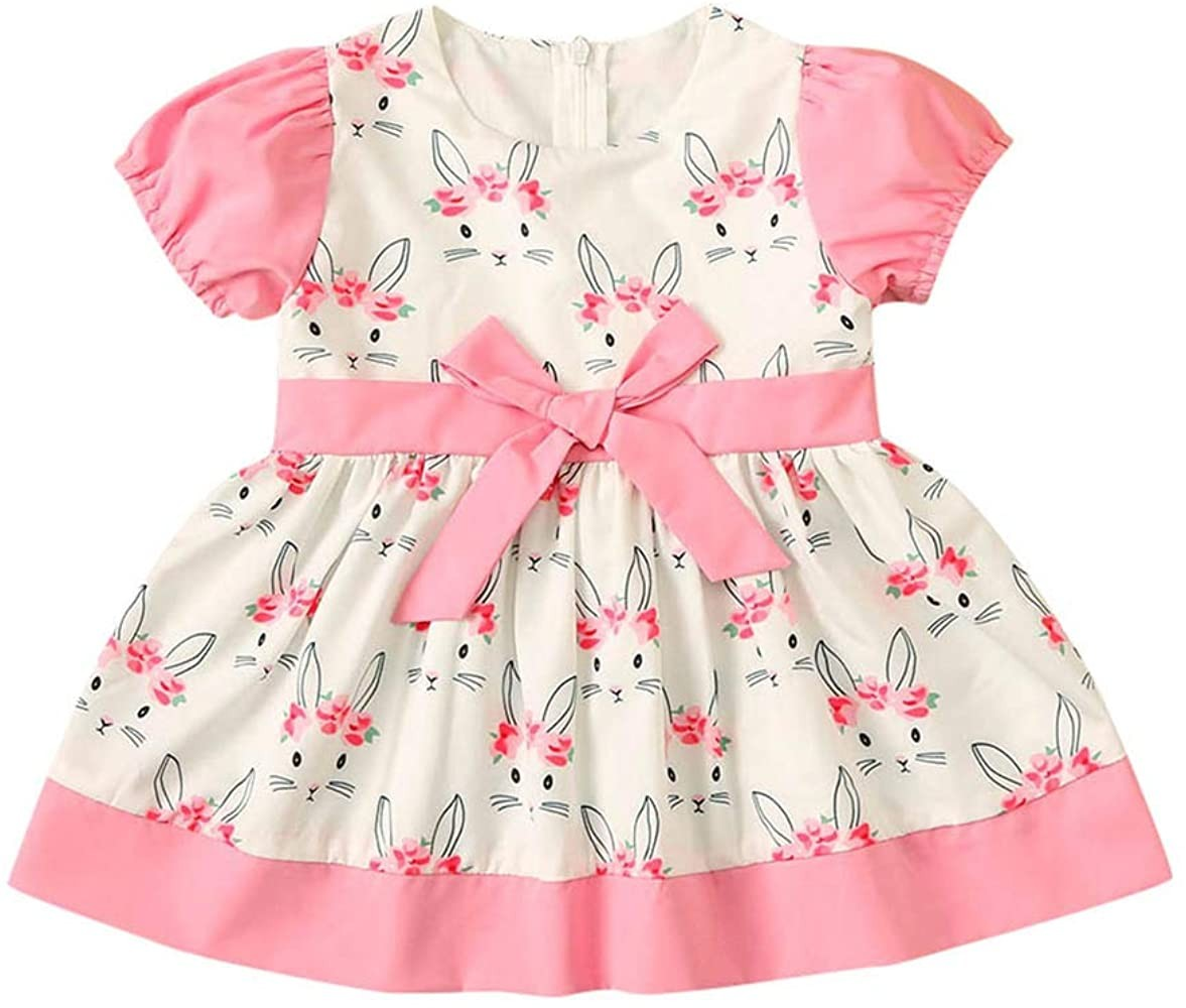 Easter Kids Baby Girls Outfits Clothes SIN vimklo Cute Shorts Sleeve Bunny Bow Princess Party Dres