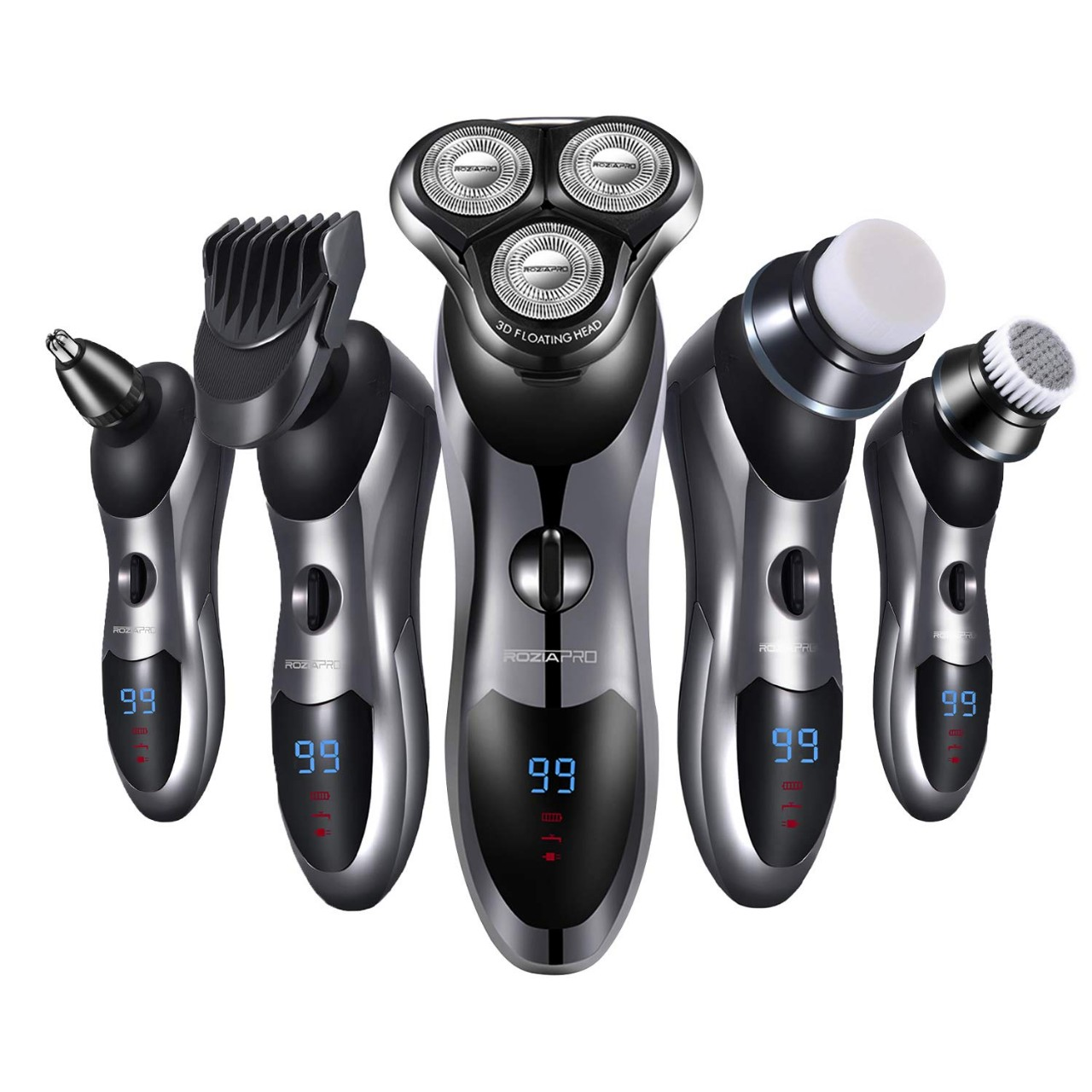 Electric Razor for Men 5 in 1 Rotary Shavers Beard Trimmer Nose Hair Trimmer Wet and Dry Electric