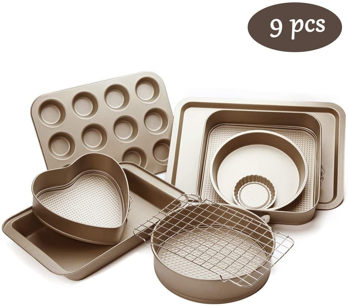 Esonmus 9pcs Nonstick Carbon Steel Bakeware Set Includes Bread Pan, Baking Sheet, Cookie Sheet
