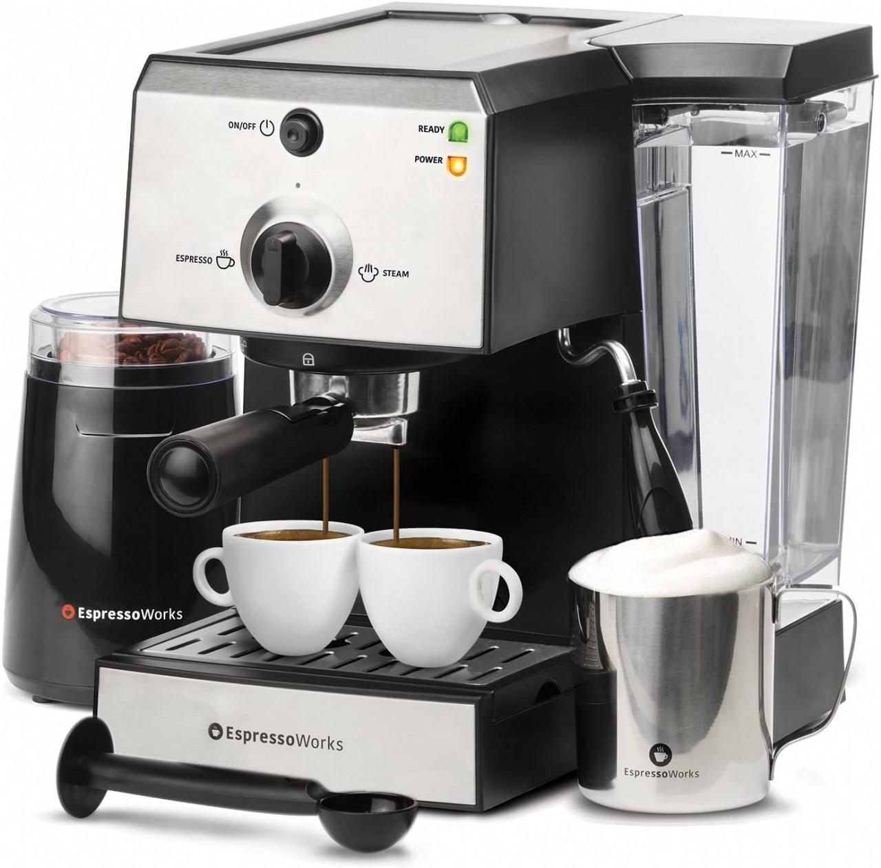EspressoWorks 7 Pc All-In-One Espresso Machine & Cappuccino Maker Barista Bundle Set w/ Built-In