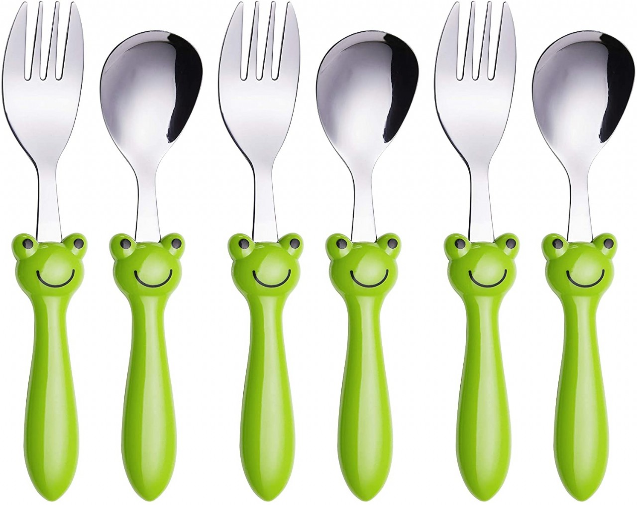 Exzact Childrens Flatware/Kid Silverware Set 6 Pieces Stainless Steel - 3 x Safe Forks, 3
