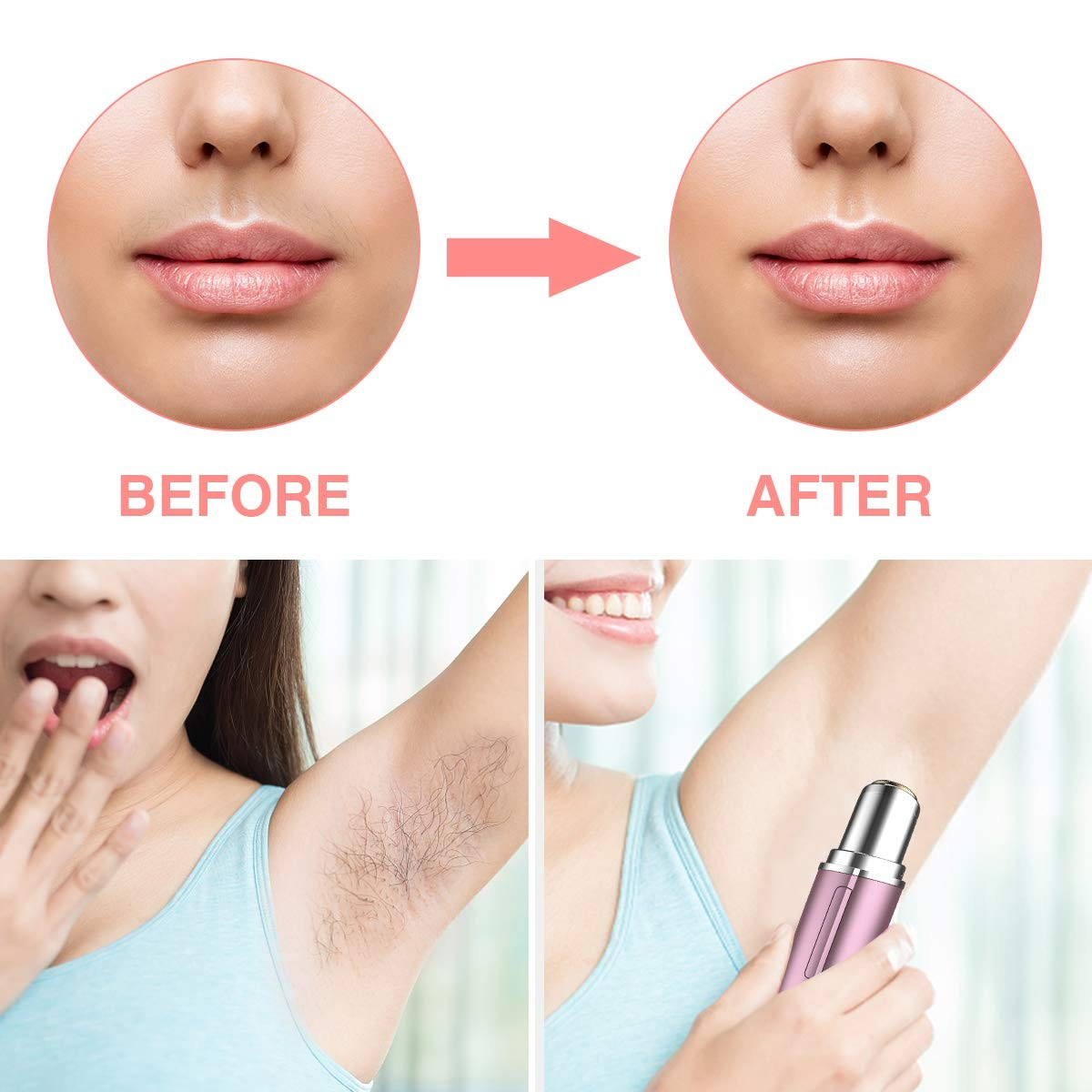 Facial Hair Removal for Women, FiveHome Painless Hair Remover Shaver Razors with Nail Stick Lamp