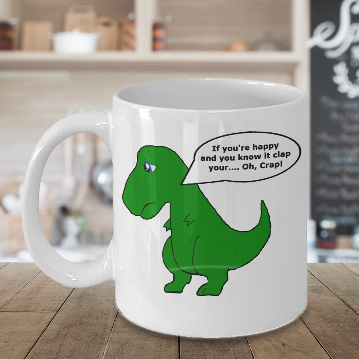 Funny Humor Happy T Rex Novelty Coffee Tea Mug 11 oz