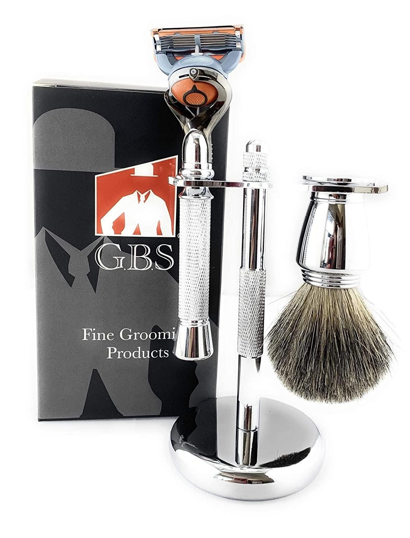 GBS New 3pc Chrome Shaving Set For Men - 5 Blade Chrome Razor, Gillette5 Blade Compatible- Badger