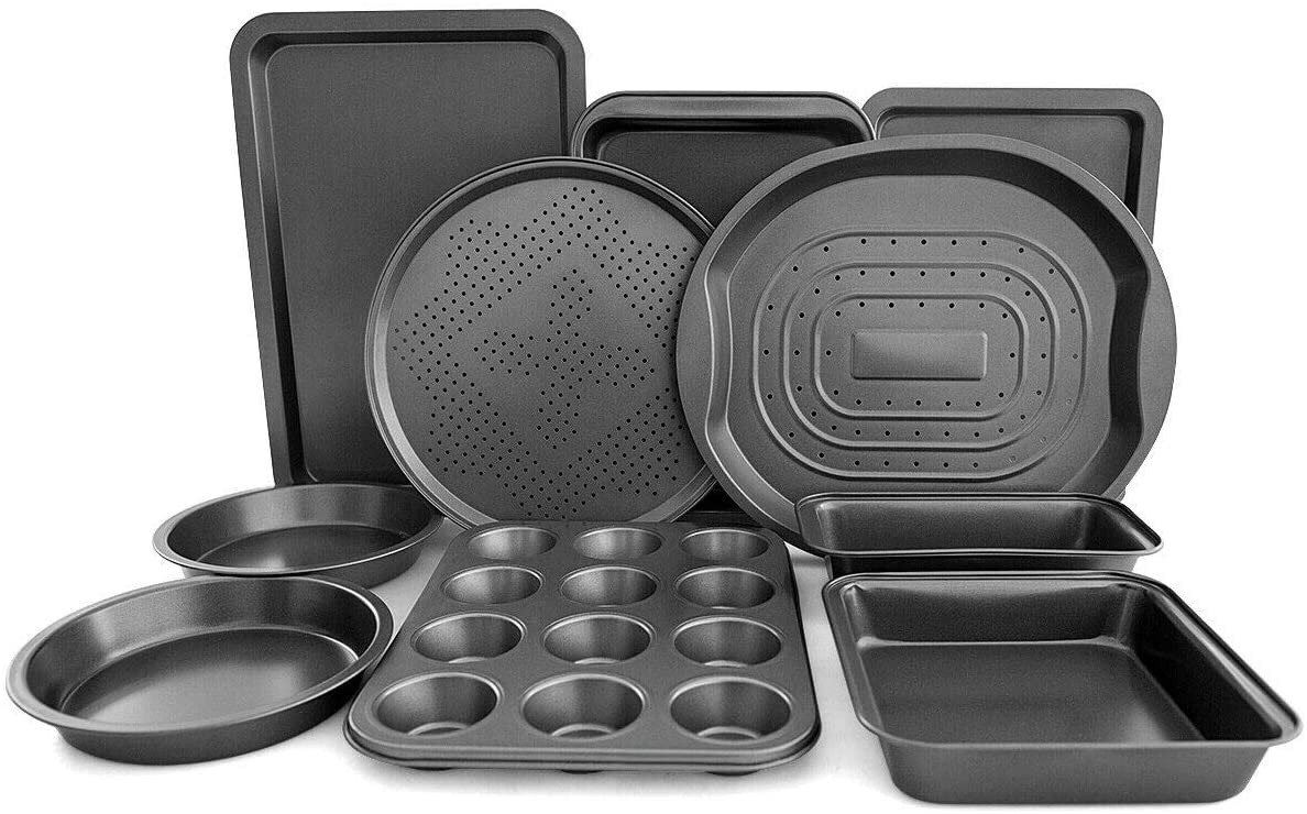 Giantex 10-Piece Nonstick Bakeware Set, Round and Square Baking Pans, Baking Sheets, Chip and Pizza