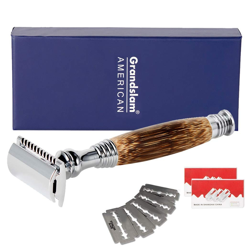 Grandslam Double Edge Safety Razor + 20 Blades Safety Razor with Handmade Long Natural Bamboo Handle