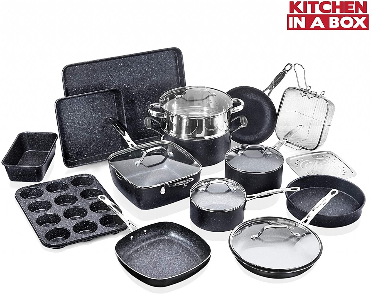 Granite Stone Pots and Pans Set, 20 Piece Complete Cookware + Bakeware Set with Ultra Nonstick 100%