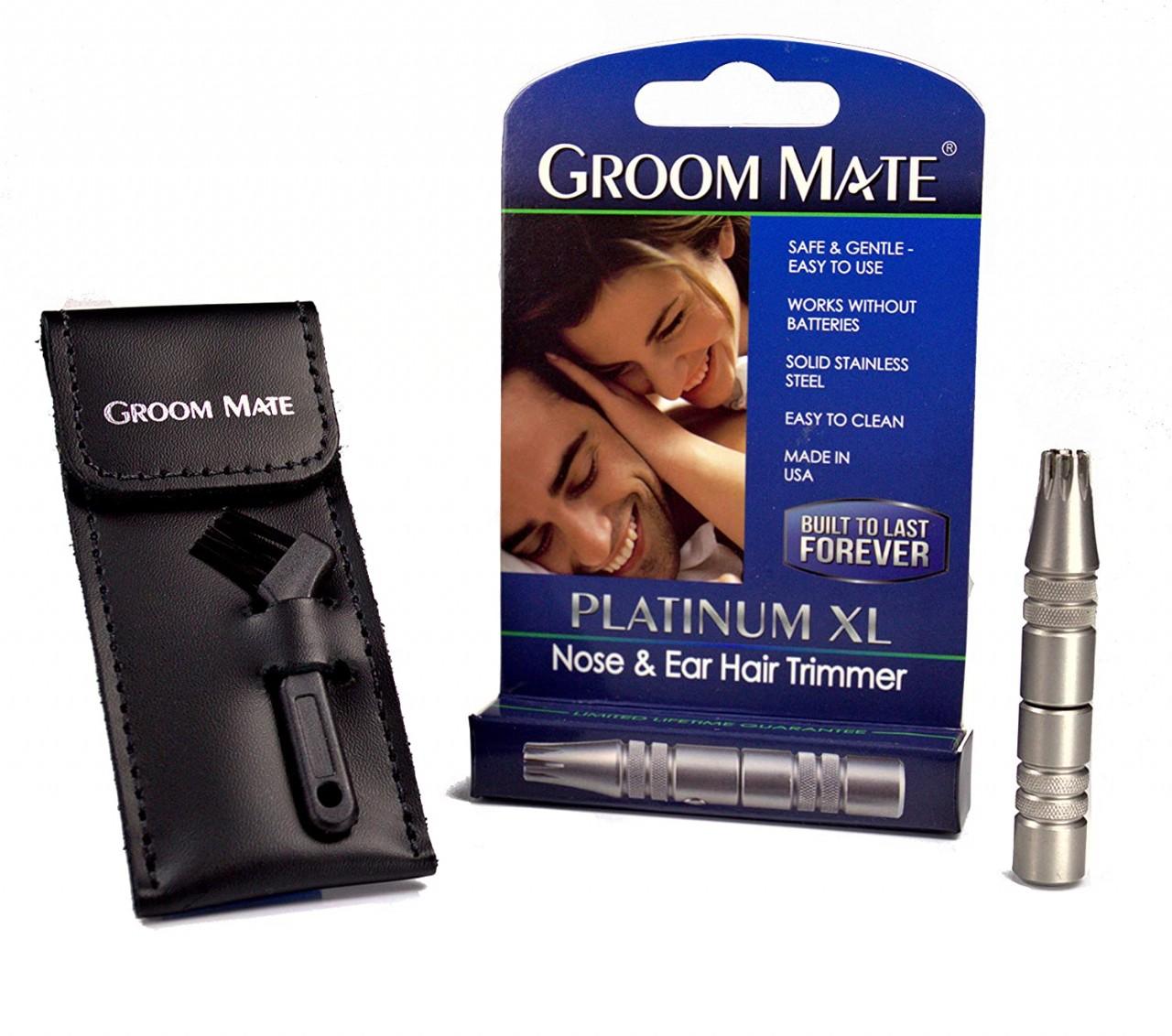 Groom Mate Platinum XL Plus - Nose Hair Trimmer -w/Pouch & Brush - Lifetime Warranty