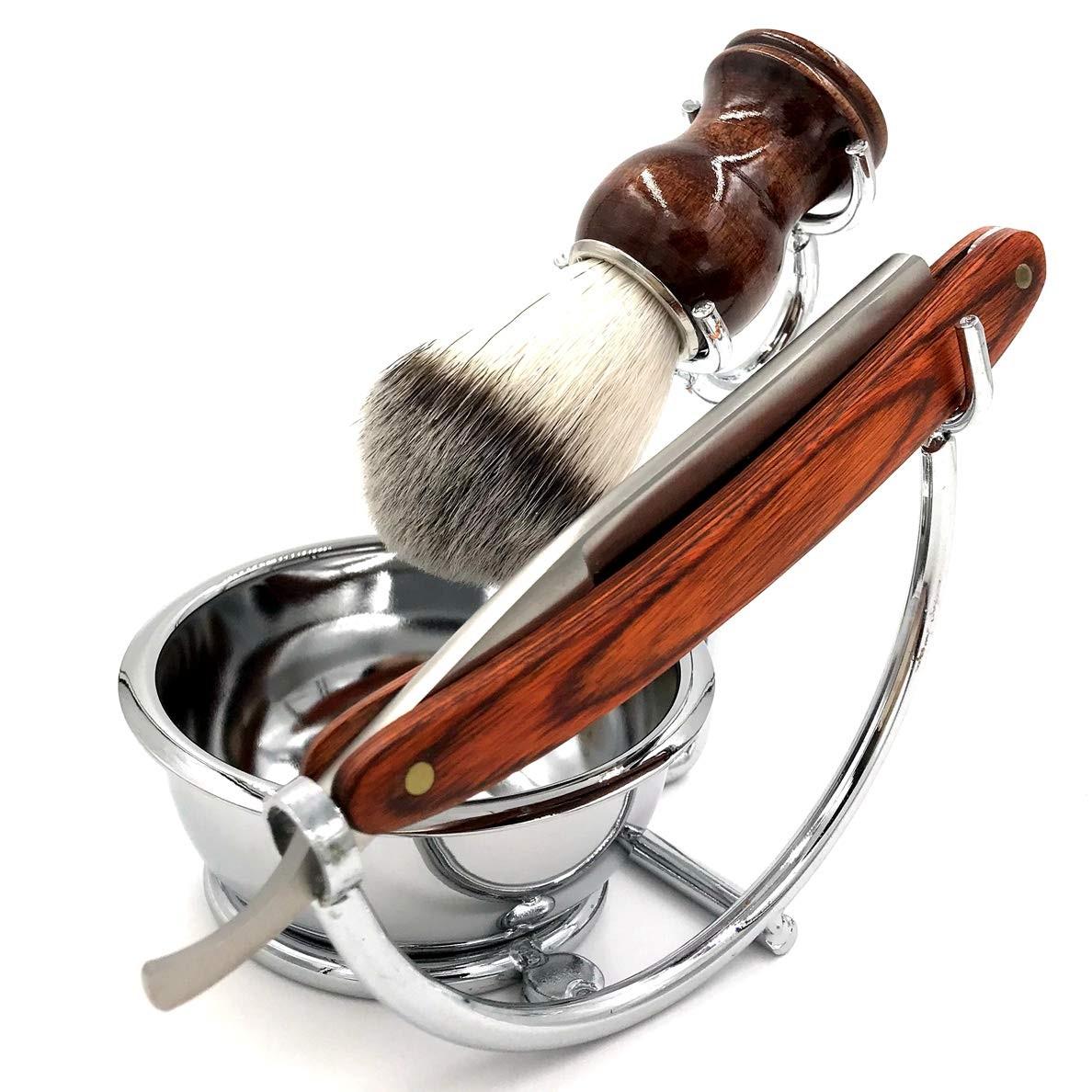 Grooming Shaving Set for Men, Strong Brush Stand + Straight Razor + Shaving Brush + Perfect Stainles