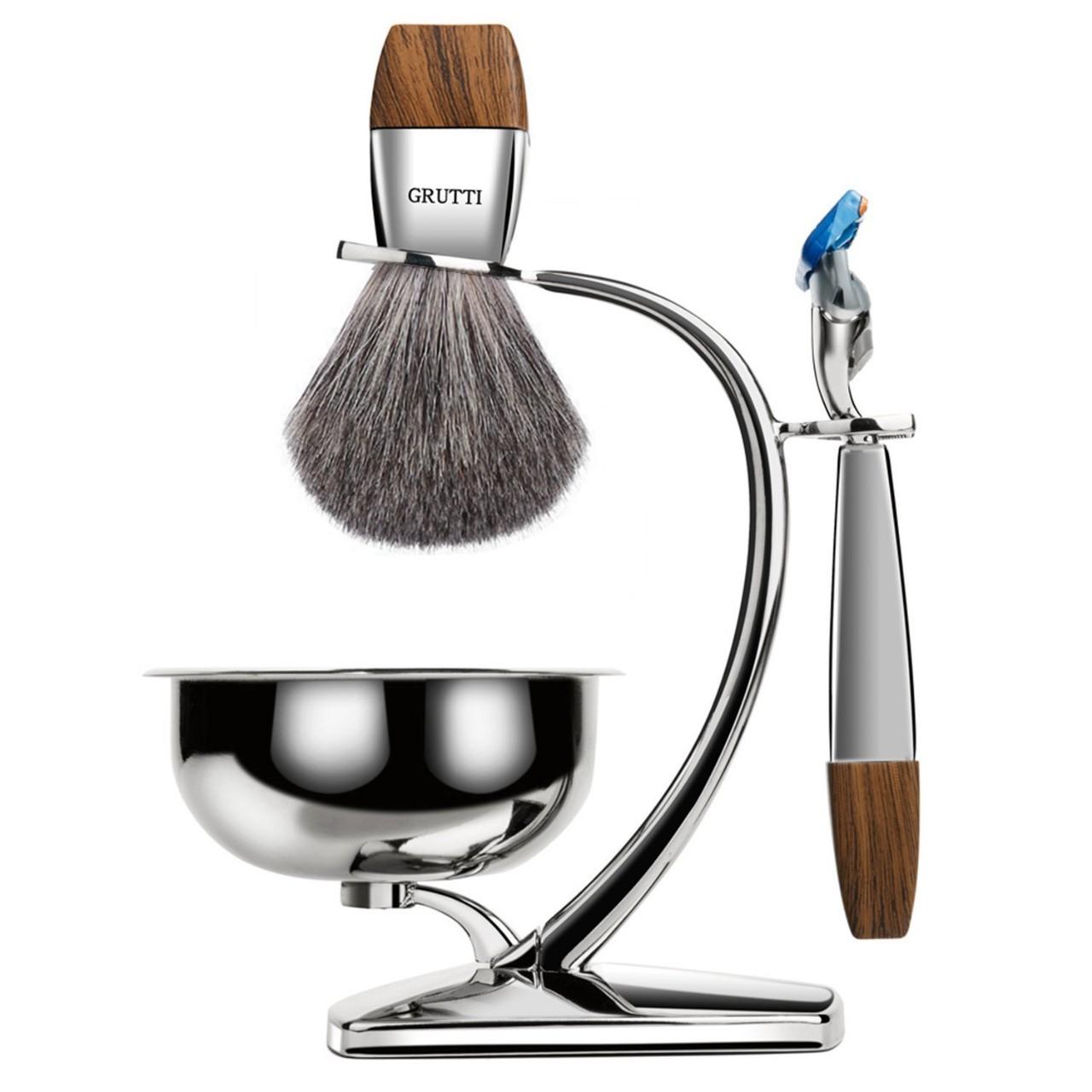 GRUTTI Premium Shaving Brush Set with Luxury Badger Brush Stand and Brush holder for Soap Bowl