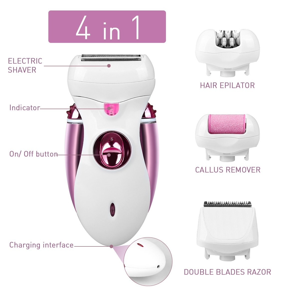 Hair Epilator, Buture Womens Epilator Cordless 4 IN 1 Electric Hair Remover Razor Shaver with Bikini