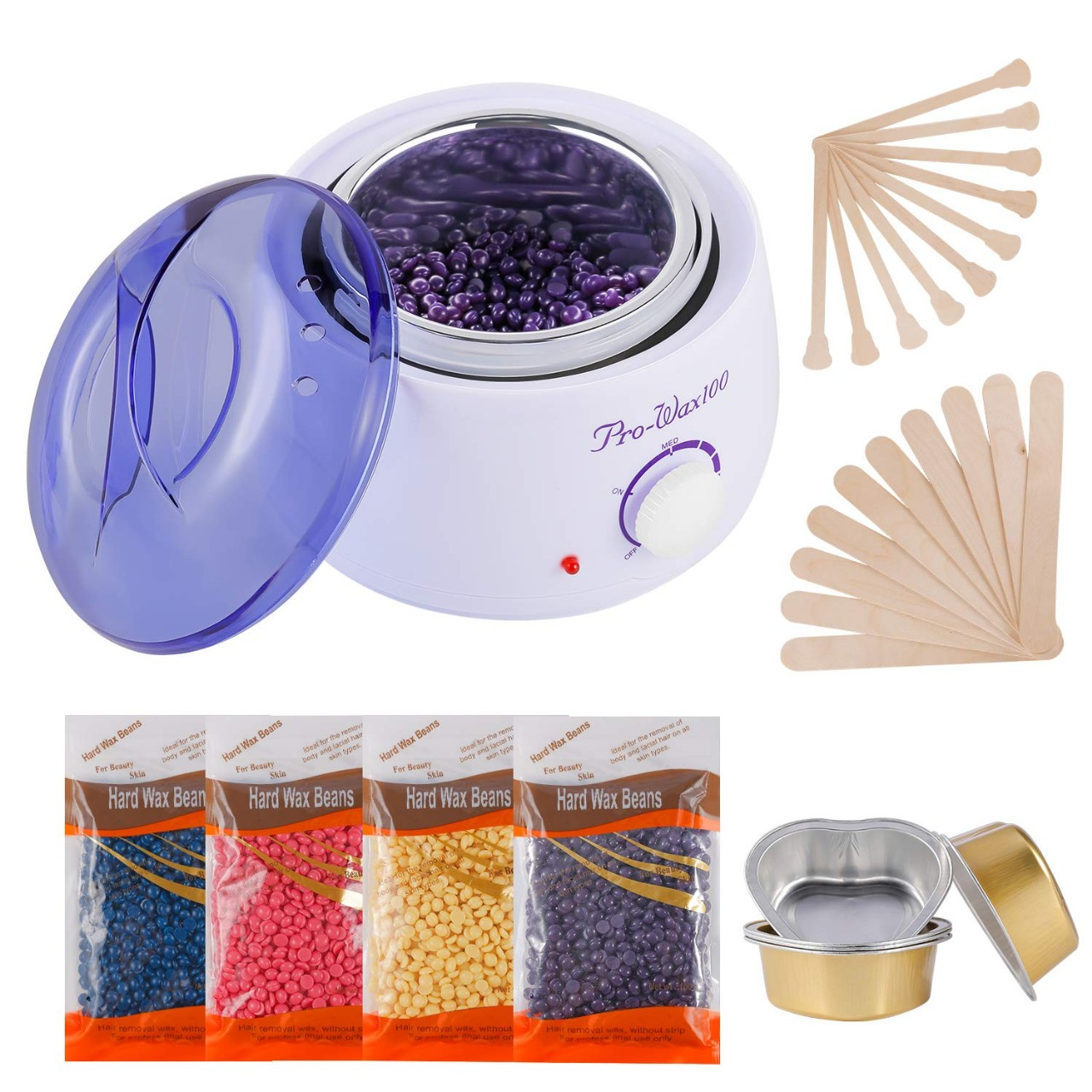 Hair Removal Waxing Kit, Wax Warmer with 4 PC Hard Wax Beans (14.1oz) 20 Wax Applicator Sticks