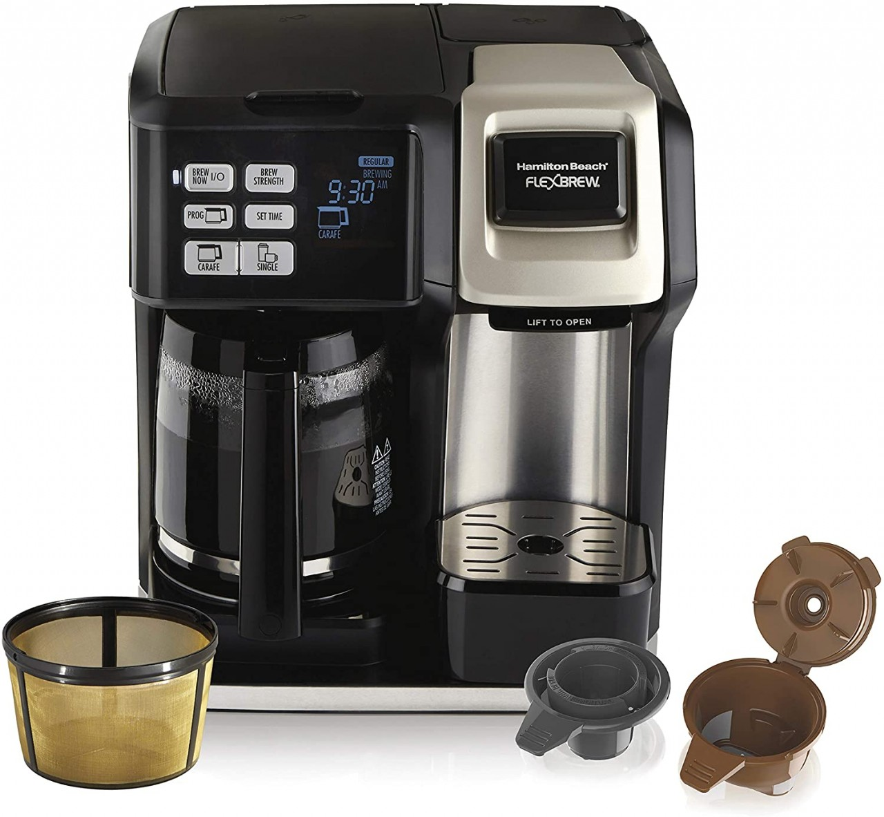 Hamilton Beach FlexBrew Coffee Maker, Single Serve & Full Pot, Compatible with K-Cup Pods or Grounds