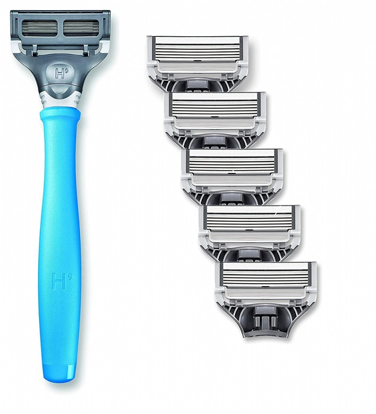 Harry's Men's Razor Set with 6 Razor Blades, Surf Blue (Sky Blue)