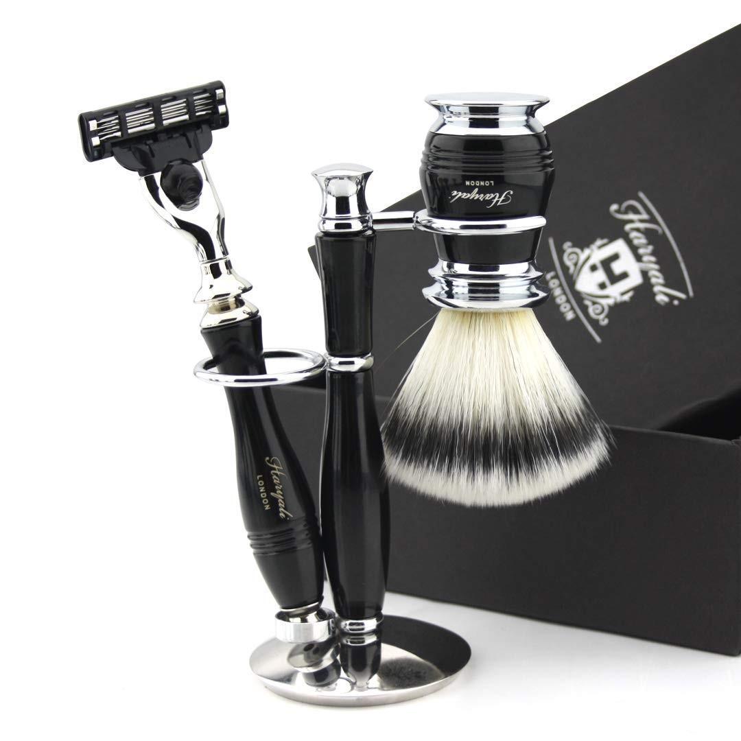 Haryali London 3 Pc Mens Shaving Kit 3 Edge Safety Razor, Silver Tip Badger Hair Shaving Brush