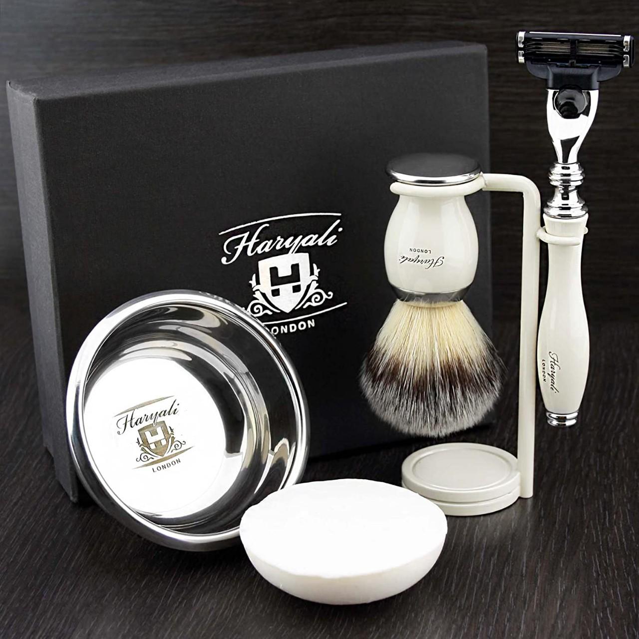 Haryali London 5 Pc Mens Shaving Kit 3 Edge Razor with Synthetic Badger Hair Shaving Brush, Stand