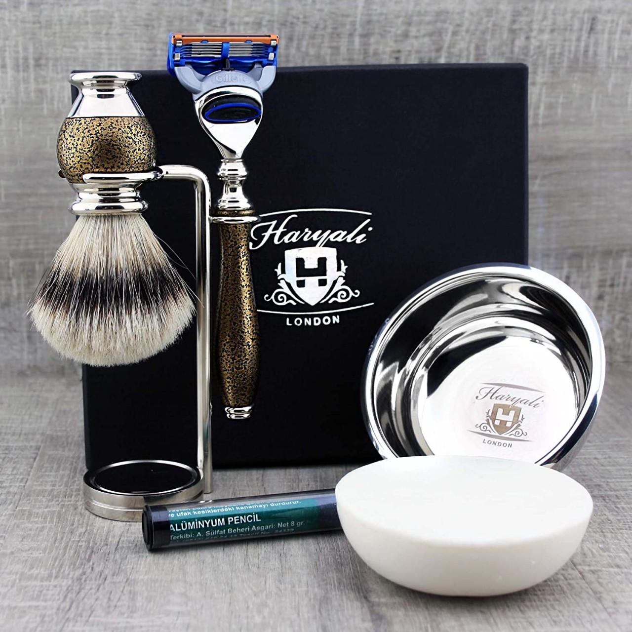 Haryali London 6 Pc Mens Shaving Kit 5 Edge Razor With Silver Tip Badger Hair Shaving Brush, Stand