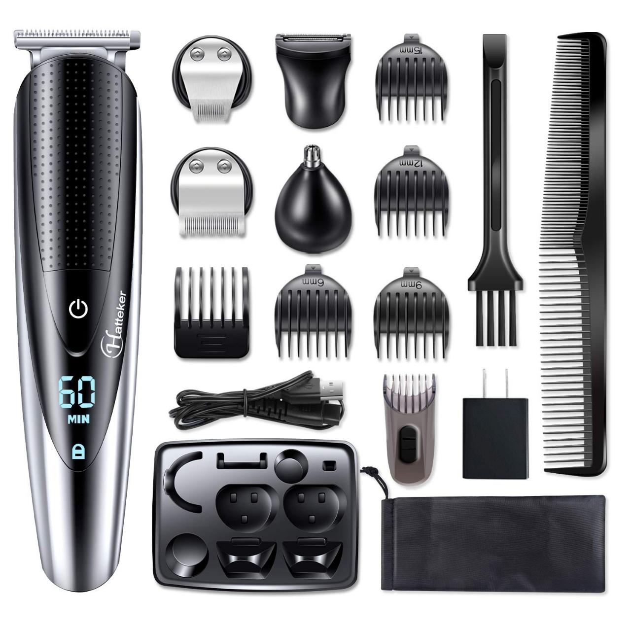 Hattteker Mens Hair Clipper Beard Trimmer Grooming kit Hair trimmer Mustache trimmer Body groomer