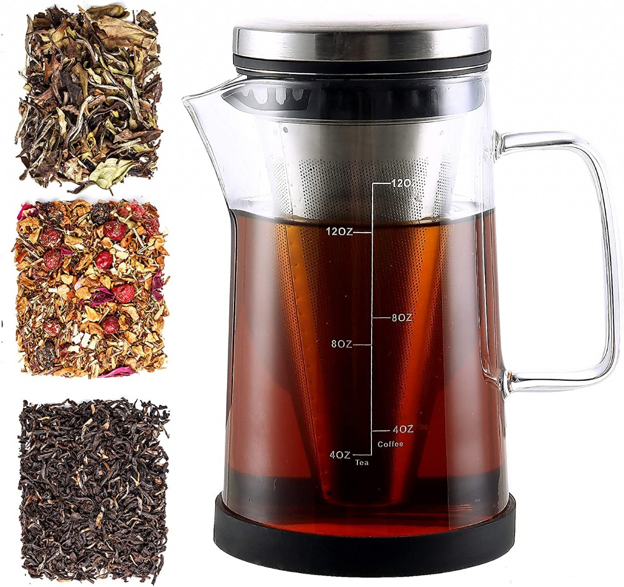 Hot Brew Coffee Maker/Tea Infuser Pitcher - Glass Coffee Tea Brewer Makes the Perfect Cup of Coffee