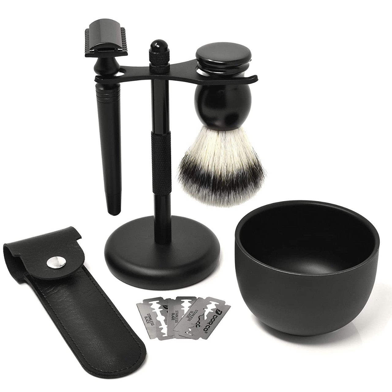 IDALIO Shaving kit for Men Double Edged Safety Razor Gift Set with Shaving Brush, Elegant Razor Case