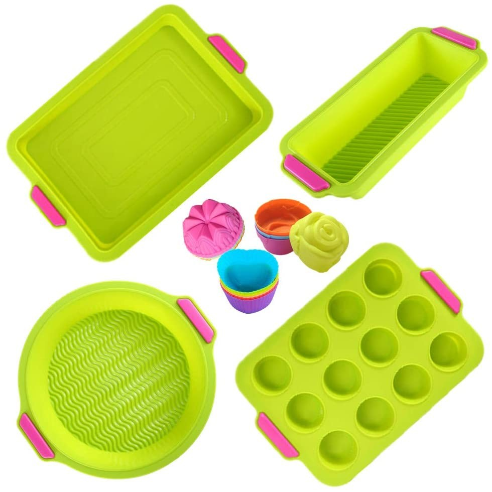 KeepingcooX 16 Pcs Nonstick Bakeware Set - Silicone Brownie Pan, 12 Holes Muffin Tray, Loaf Pan