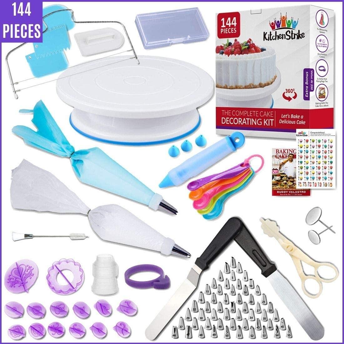 Kitchen Strike Cake Decorating Kit - 144 Piece Baking supplies With Bonus Accessories Of Fondant