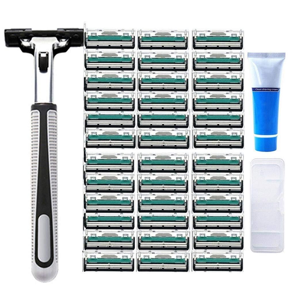 Kouye 36 Pack Razor Blades for Men +1 Handle, Shaving Cream Double Blade Manual Razor Shaver Razors