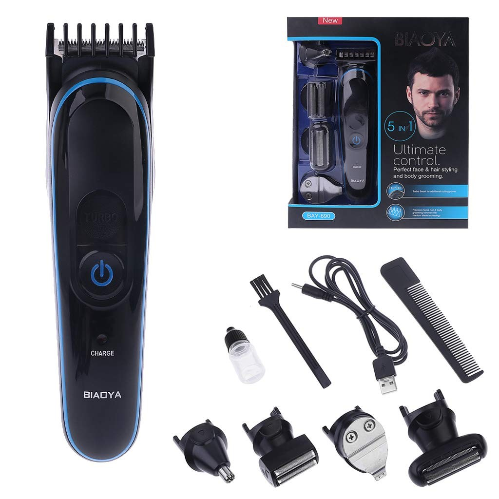 KUKALE Hairdressing USB 5 in 1 Multifunction Hair Trimmer Titanium Hair Clipper Electric Shaver