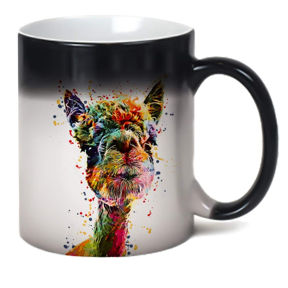 Llama Color Changing Mug Heat Sensitive Magic Alpaca Art Coffee Tea Cup 11 oz
